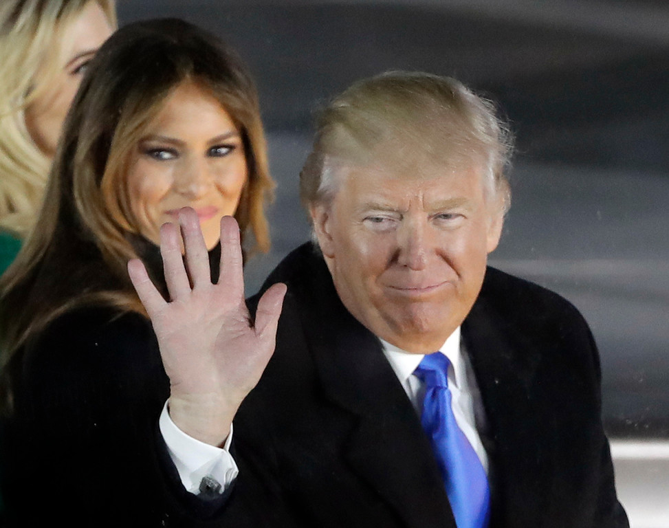 """. President-elect Donald Trump and his wife Melania Trump attend a pre-Inaugural \""""Make America Great Again! Welcome Celebration\"""" at the Lincoln Memorial in Washington, Thursday, Jan. 19, 2017. (AP Photo/David J. Phillip)"""
