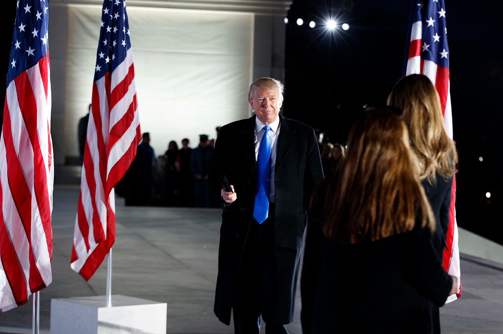 ". President-elect Donald Trump walks off stage after speaking during the ""Make America Great Again Welcome Concert\"" at the Lincoln Memorial, Thursday, Jan. 19, 2017, in Washington. (AP Photo/Evan Vucci)"