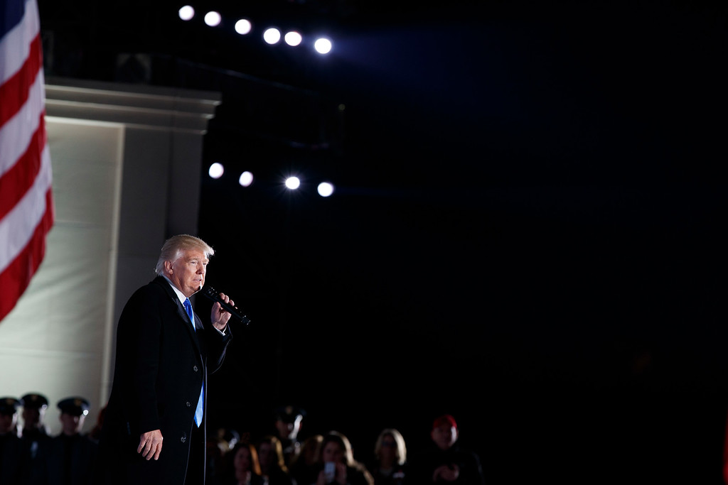 ". President-elect Donald Trump speaks during the ""Make America Great Again Welcome Concert\"" at the Lincoln Memorial, Thursday, Jan. 19, 2017, in Washington. (AP Photo/Evan Vucci)"