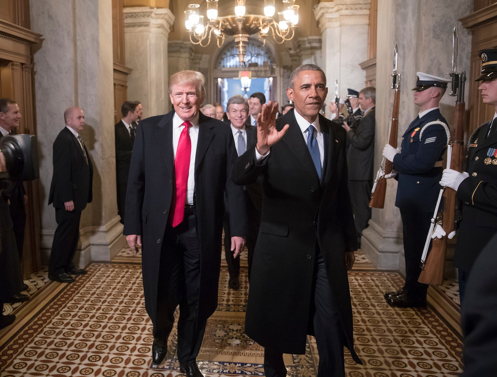 . President-elect Donald Trump and President Barack Obama arrive for Trump\'s inauguration ceremony at the Capitol in Washington, Friday, Jan. 20, 2017.  (AP Photo/J. Scott Applewhite, Pool)