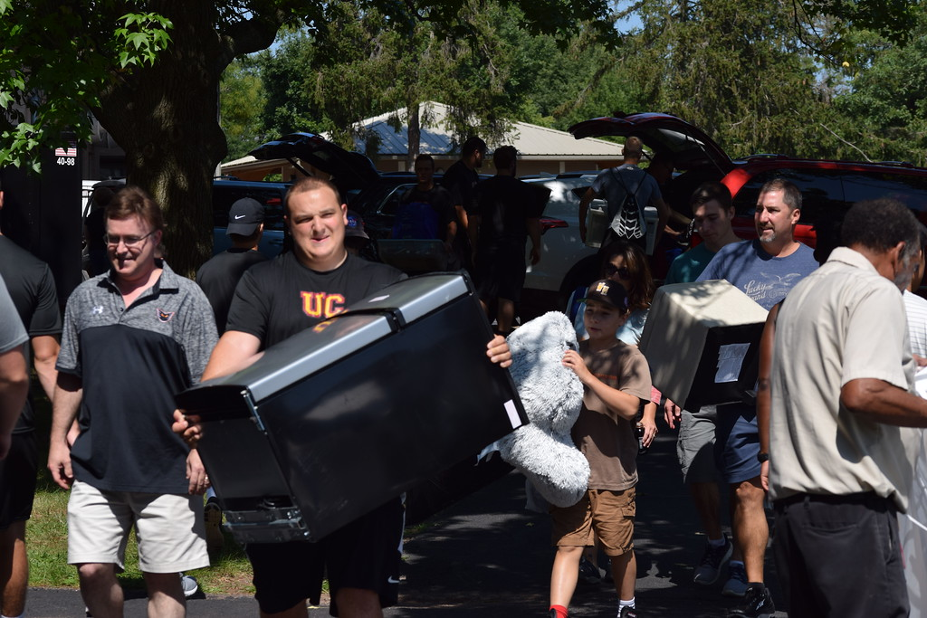 . Marian Dennis � Digital First Media Thursday was move-in day at Ursinus College in Royersford as families hustled, carrying furniture and other items into the dorms.