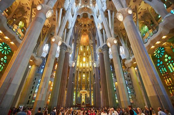 The fantastical interior of Gaudi's Sagrada Familia, Barcelona