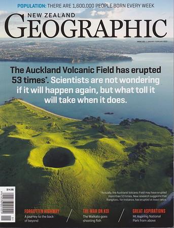 Cover photo for New Zealand Geographic magazine, featuring Motukorea Island