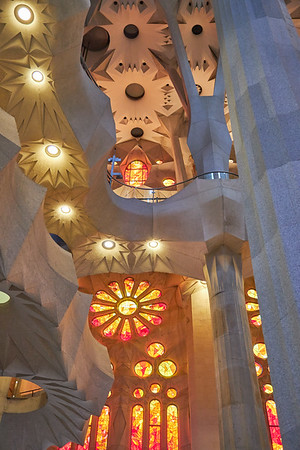 The beautiful interior of the Sagrada Famaila cathedral by Antonii Gaudi, in Barcelona