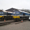59102 'Village of Chantry' sits with 59002 'Alan J Day' at Merehead Quarry shed