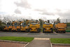 A plethero of Hydrex's sit in the Car - Park of Hoylake Merseyrail station ready for the start of a week long possesion on the West kirby line. from left to right they are as follows:<br /> <br /> Left to Right:<br /> <br /> Komatsu Pc 138us Euro # 911115-2<br /> Komatsu Pc 138 Euro # 911014-7 Fleet # 6502<br /> Komatsu Pc 138 Euro # 911091-5 Fleet # 5033<br /> Liebherr A900 CZW Euro # 940678-4 Fleet # 6896<br /> Liebherr A900 CZW Euro # 940676-8 Fleet # 6895 <br /> Gigarailer  Euro # 940089-4 Flleet # 6767<br /> <br /> Location Hoylake Station Merseyrail Car - Park <br /> <br /> Date: 6th Oct 2011