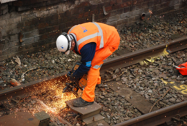 Chummy makes short work of the brackets with the Disc Cutter as the sparks fly in Leasowe platform