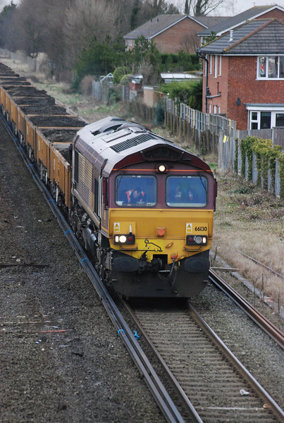 66130 <br /> <br /> sits on the work site with a train of spoil wagons