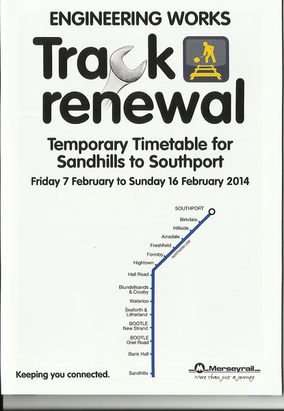 The Temporary Timetable issued by Merseyrail for the duration of the work showing the Rail Replacment Buses which from what i experienced on Day where very good and ran to time  <br /> <br /> New to Smugmug??<br /> <br /> To read the print clearly / make picture bigger : <br /> <br /> Best way to read it if you new to Smugmug<br /> Put your mouse pointer over pic and double click which blows it up. <br /> <br /> Then in the Bottom RIGHT hand corner there is a RESIZE BUTTON so select size you want. <br /> <br /> To cancel and come back just click the big X in top right hand side