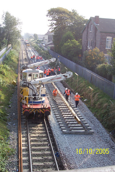 Twin Jib Crane <br /> <br /> Laying Concrete Sleepers between Blundellsands & Crosby and Waterloo <br /> <br /> 16 Oct 2005