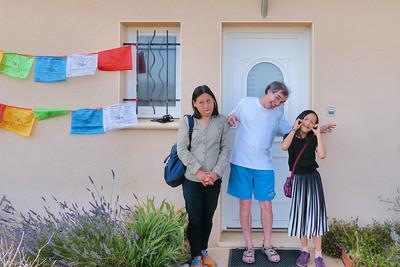 Jun (Jade), moi-même et Nini (Julie) : grimaces ! - Cavagnac - Lot - France