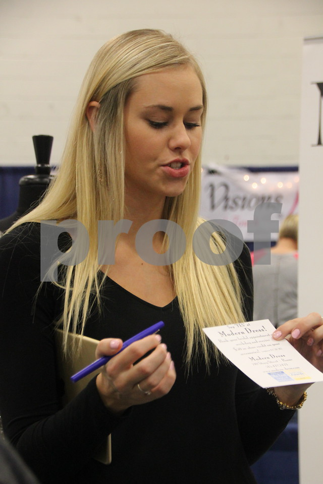 Sunday, October 16, 2016 Iowa Central Community College was the sight of the 2016 Messenger Bridal Show. The event took place in the Career Education Building on their Fort Dodge campus. Shown here is:Ashley Moorman, a vendor at the event.