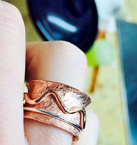 My first spinner ring. Excited for class because when I flared this, the seam broke open and had to be resoldered