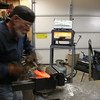 forming a trumpet flower  heated in gas forge