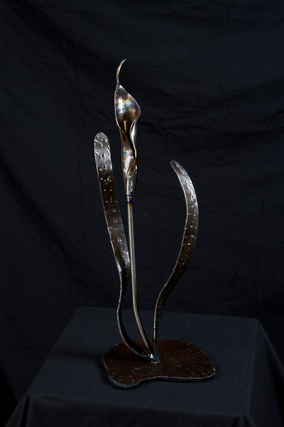 "calla lily in steel, 19"" tall"