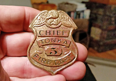 Late 50's fire badge from Tonka Toys