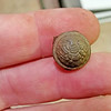 Found this Civil War cuff button in Anoka.  Although small, it is a real historic find.