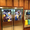 My client wanted to embellish her stainless steel refrigerator with metal prints of a painting.   Brilliant!