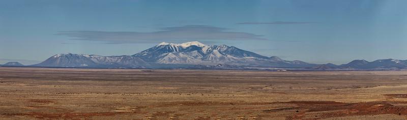 San Francisco Peaks as seen frm the Meteor Crater, near Flagstaff, Arizona