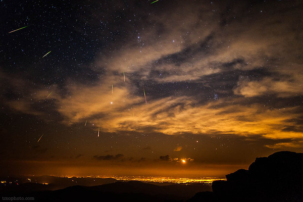 2012 Perseid Meteor Shower over Denver Colorado from the summit of Mt Evans (14,240')