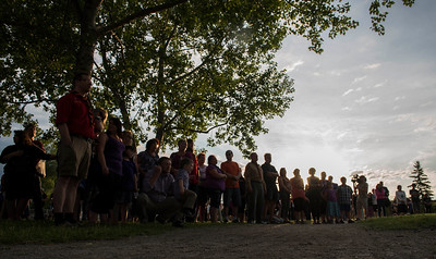 Friends and family attend a vigil type event on the one year anniversary of Thelma Krull's disappearance at Civic Park Monday July 11, 2016. (David Lipnowski for Metro News)