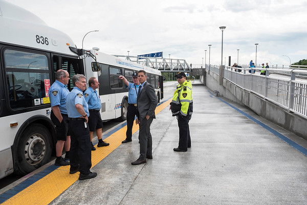 Mayor of Winnipeg Brian Bowman speaks with Winnipeg Transit Bus Drivers at the opening of Stadium Station, the first piece of the Southwest Transitway Stage 2,  Tuesday July 4, 2017. (David Lipnowski for Metro News)