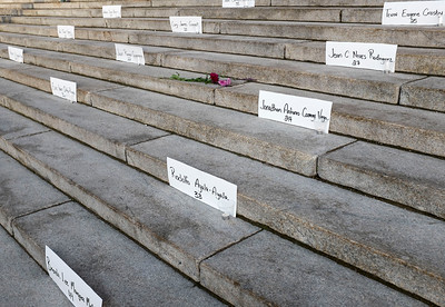 Display of names of those murdered during a vigil held by Pride Winnipeg for those murdered in Orlando, Florida Monday June 13, 2016 at the Manitoba Legislature building. (David Lipnowski for Metro News)