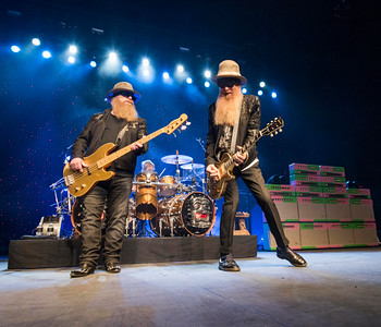 ZZ Top bassist and co-lead vocalist Dusty Hill (left) and guitarist and lead vocalist Billy Gibbons (right) and drummer Frank Beard (on drums) perform at MTS Centre Tuesday March 29, 2016 as part of their Hell Raisers Tour. David Lipnowski / For Metro