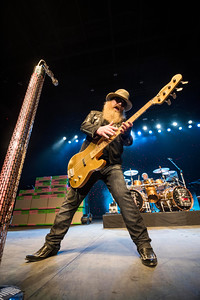ZZ Top bassist and co-lead vocalist Dusty Hill  performs with the band at MTS Centre Tuesday March 29, 2016 as part of the Hell Raisers Tour. David Lipnowski / For Metro