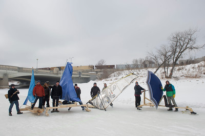 Group photo of the first Winter Wind Derby on handmade flying contraptions Saturday March 5, 2016 on the Red River Mutual Trail at the Forks. (David Lipnowski for Metro News)