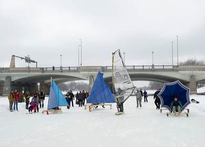 The mass start portion of the first Winter Wind Derby on handmade flying contraptions Saturday March 5, 2016 on the Red River Mutual Trail at the Forks. (David Lipnowski for Metro News)