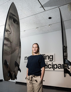 Curator of Contemporary & Indigenous art for the Winnipeg Art Gallery, Jaimie Isaac with Vernon Ah Kee's Cantchant, (2009) during a sneak peak of Skate, Snow, Surf, Two Boarding Shows Celebrating Indigenous Art at the Winnipeg Art Gallery November 17, 2016  (David Lipnowski for Metro News)