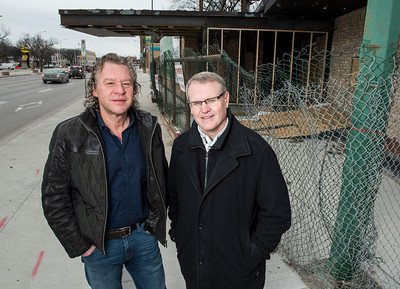 EdgeCorp Developments Ltd Chairman Mark Hofer (left) and President Keith Merkel (right) at the site of the old Palomino Club on Portage Avenue November 20, 2016  (David Lipnowski for Metro News)