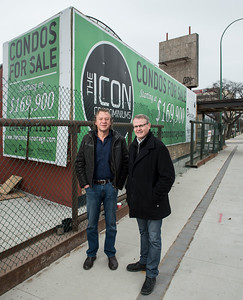 EdgeCorp Developments Ltd Chairman Mark Hofer (left) and President Keith Merkel (right) at the site of the old Palomino Club on Portage Avenue November 20, 2016  (David Lipnowski for Metro News)