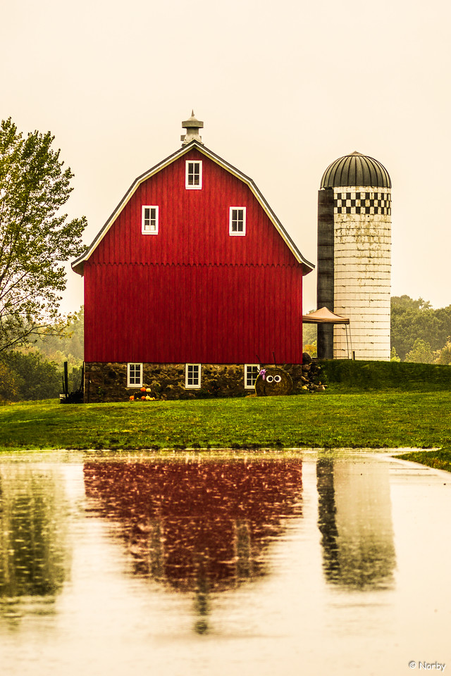 Barn Rainy Reflection. Minnesota Landscape Arboretum