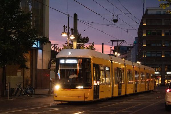 Berlin trams at dusk