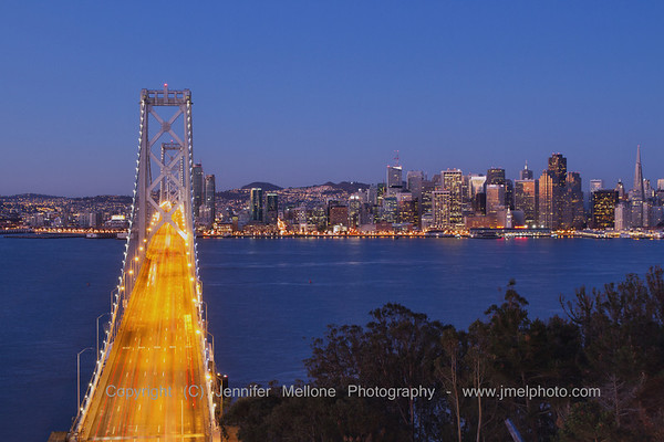 Look across Bay Bridge before Sunrise