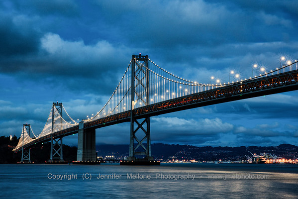 Bay Bridge Lights with Winter Sky