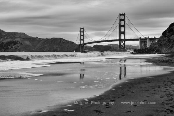 Baker Beach Golden Gate Reflection before the Rain - Black and White