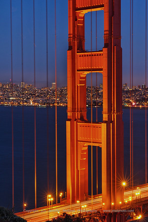 North Tower of Golden Gate Bridge with Traffic