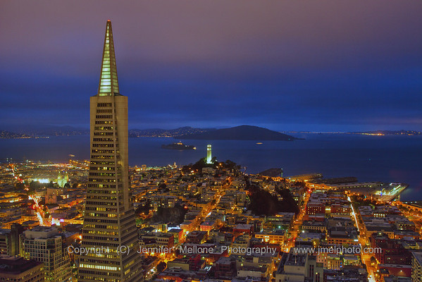 Foggy Post-Sunset View of Transamerica Building and Coit Tower