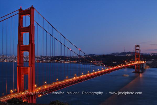 Complete Golden Gate Bridge Blue Hour Glow