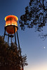 Campbell Water Tower at Night with Trees, Moon, and Venus