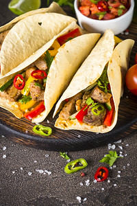 Mexican Pork Tacos With Vegetables And Salsa. Traditional Latin American Food.