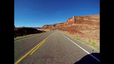 GoPro driving toward Hite Overlook