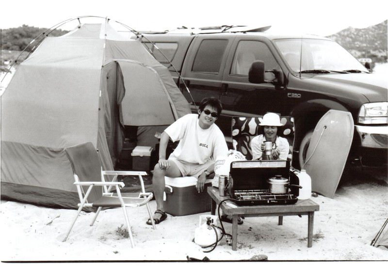 With mom, camping in some remote location on the east coast of the Baja after about 2h of off-road driving in Mike's truck.  This would be the first of many trips to the Baja for me.  Although we now enjoy the comfort of a place in Mexico, I still think the very first trip when we were all camping at the beach was the most memorable and adventurous.