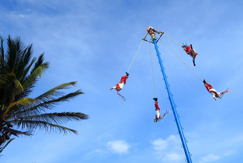 Dance of the Flying Men (Danza de los Voladores) in Playa del Carmen, Mexico.