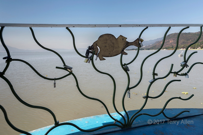 Chapala pier with locks and fish cut-out, Lake Chapala, Jalisco, Mexico