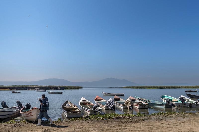 Fishing boats on the shores of Lake Chapala, Chapala, Jalisco, Mexico