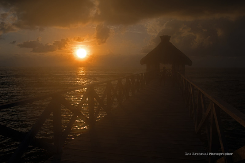 Riviera Maya Fiery Sunrise With Palapa Cetered Marked